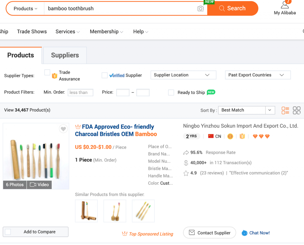 Use Alibaba to search for manufacturers
